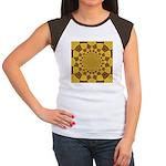 Red & Gold Dance Fract Junior's Cap Sleeve T-Shirt