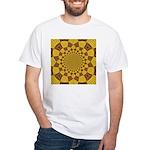 Red & Gold Dance Fractal White T-Shirt