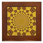 Red & Gold Dance Fractal Framed Tile