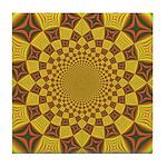 Red & Gold Dance Fractal Tile Coaster