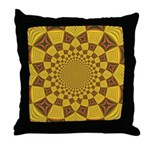 Red & Gold Dance Fractal Throw Pillow