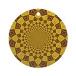 Red & Gold Dance Fractal Round Ornament