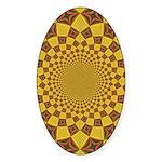 Red & Gold Dance Fractal Sticker (Oval)