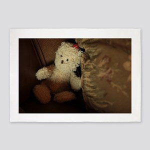 small white teddy bear on pillows 5'x7'Area Rug