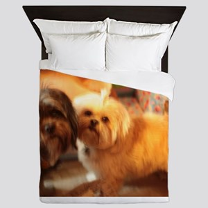 Kona and Koko dogs at play Queen Duvet