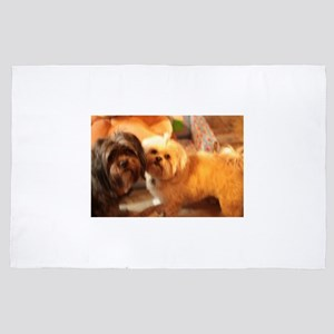 Kona and Koko dogs at play 4' x 6' Rug