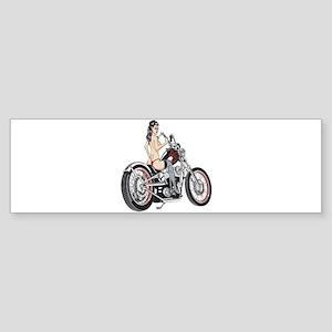 Sexy Biker Chick Bumper Sticker