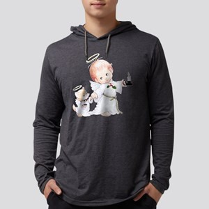 Cute Christmas Baby Angel And Cat Long Sleeve T-Sh