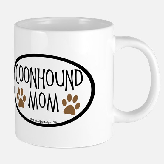 Coonhound Mom Oval Mugs