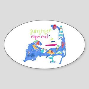 Cute Cape Cod Map Sticker (Oval)