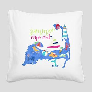 Cute Cape Cod Map Square Canvas Pillow