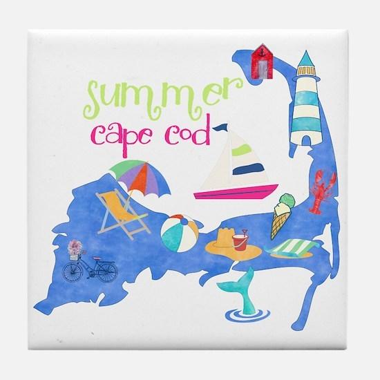 Cute Cape Cod Map Tile Coaster