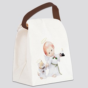 Cute Christmas Baby Angel And Cat Canvas Lunch Bag