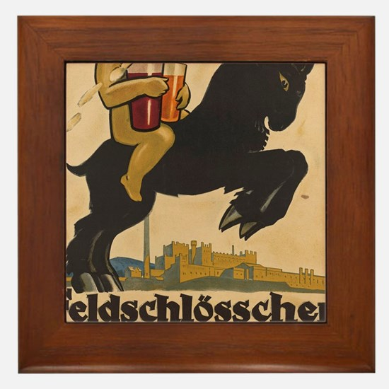 Cute European beer Framed Tile