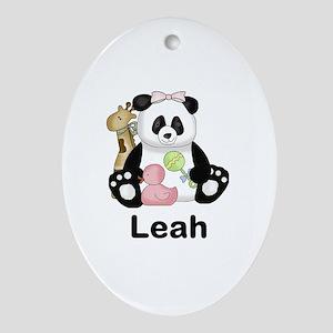 Leah's Little Panda Oval Ornament