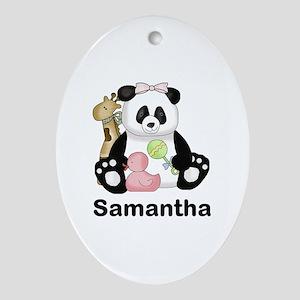 Samantha's Little Panda Oval Ornament