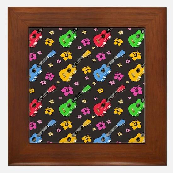 Ukulele Pattern Framed Tile