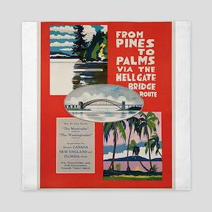 Vintage poster - Hellgate Bridge Queen Duvet