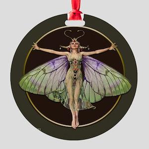 Dark Green Flapper Fairy Round Ornament