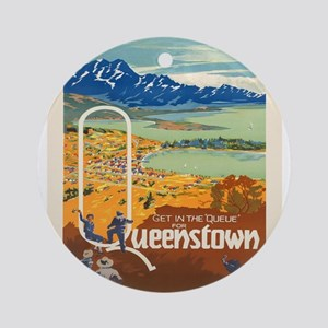 Vintage poster - New Zealand Round Ornament