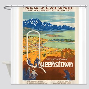 Vintage poster - New Zealand Shower Curtain
