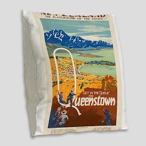 Vintage poster - New Zealand Burlap Throw Pillow