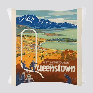 Vintage poster - New Zealand Woven Throw Pillow
