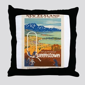 Vintage poster - New Zealand Throw Pillow