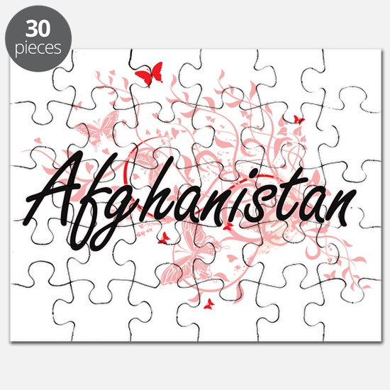 Afghanistan Artistic Design with Butterflie Puzzle