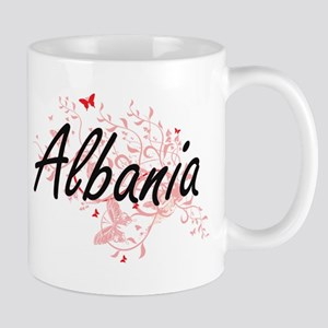 Albania Artistic Design with Butterflies Mugs