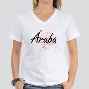 Aruba Artistic Design with Butterflies T-Shirt