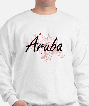 Aruba Artistic Design with Butterflies Sweatshirt