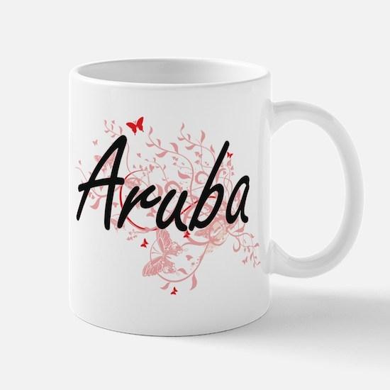 Aruba Artistic Design with Butterflies Mugs