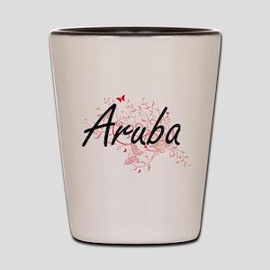 Aruba Artistic Design with Butterflies Shot Glass