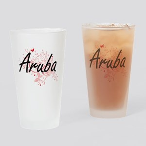 Aruba Artistic Design with Butterfl Drinking Glass