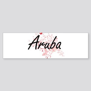 Aruba Artistic Design with Butterfl Bumper Sticker