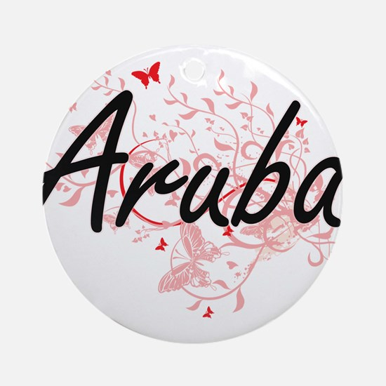 Aruba Artistic Design with Butterfl Round Ornament