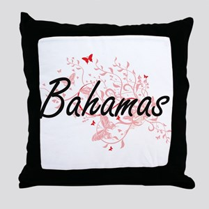 Bahamas Artistic Design with Butterfl Throw Pillow