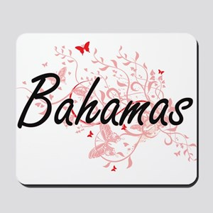 Bahamas Artistic Design with Butterflies Mousepad
