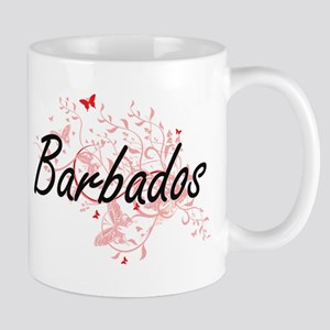 Barbados Artistic Design with Butterflies Mugs