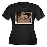 Mangy Moose Women's Plus Size V-Neck Dark T-Shirt