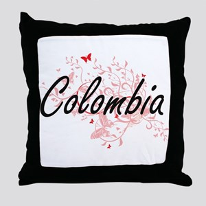 Colombia Artistic Design with Butterf Throw Pillow