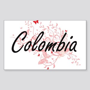 Colombia Artistic Design with Butterflies Sticker