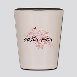 costa rica Artistic Design with Butterf Shot Glass