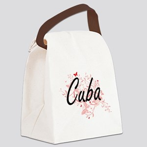 Cuba Artistic Design with Butterf Canvas Lunch Bag
