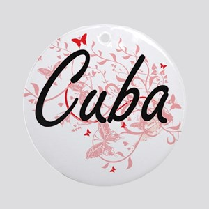 Cuba Artistic Design with Butterfli Round Ornament