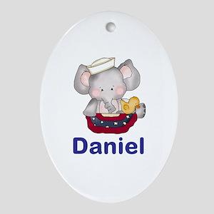 Daniel's Patriotic Elephant Oval Ornament