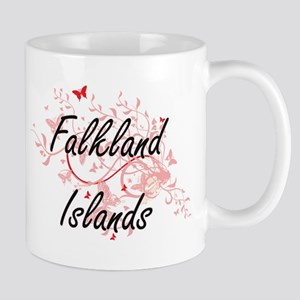 Falkland Islands Artistic Design with Butterf Mugs