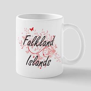 Falkland Islands Artistic Design with Butterf Mugs