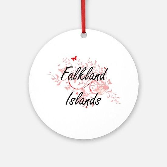 Falkland Islands Artistic Design wi Round Ornament